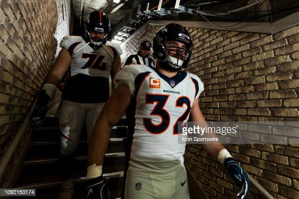 Denver Broncos fullback Andy Janovich walks down the hallway during the regular season NFL football game against the Oakland Raiders on Monday Dec 24...