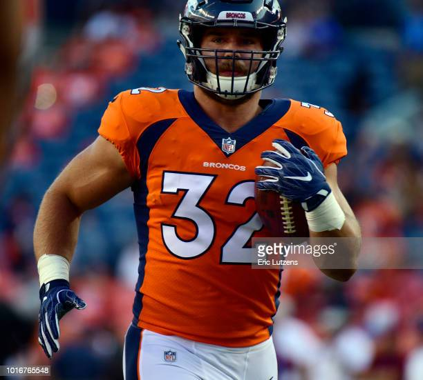 Denver Broncos fullback Andy Janovich warms up prior to the game on Saturday August 11 at Broncos Stadium at Mile High The Denver Broncos hosted the...