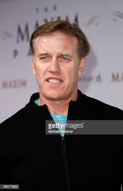 Denver Broncos Hall of Fame NFL quarterback John Elway attends the MAXIM Magazine kicks off Super Bowl weekend at Grand Opening of Stone Rose at the...