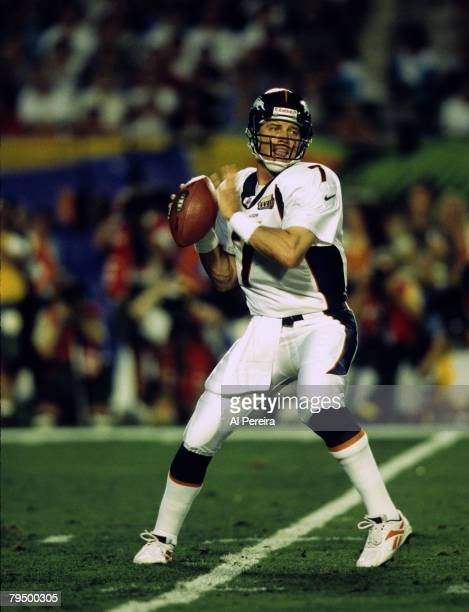 Denver Broncos Hall of Fame quarterback John Elway fires a pass during Super Bowl XXXIII a 3419 Denver Broncos victory over the Atlanta Falcons on...