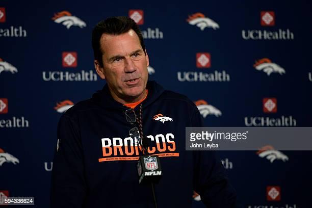 Denver Broncos head coach Gary Kubiak announces Denver Broncos quarterback Trevor Siemian will start against the Rams during a press conference...