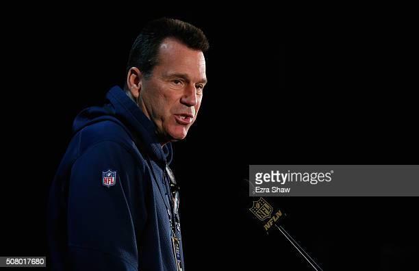 Denver Broncos head coach Gary Kubiak speaks to the media at the Broncos media availability at the Santa Clara Marriott on February 2 2016 in Santa...