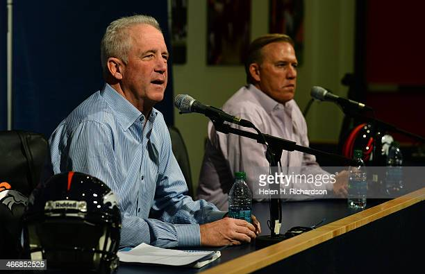 Denver Broncos head coach John Fox left and John Elway Executive Vice President of Football Operations address members of the media at Dove Valley in...