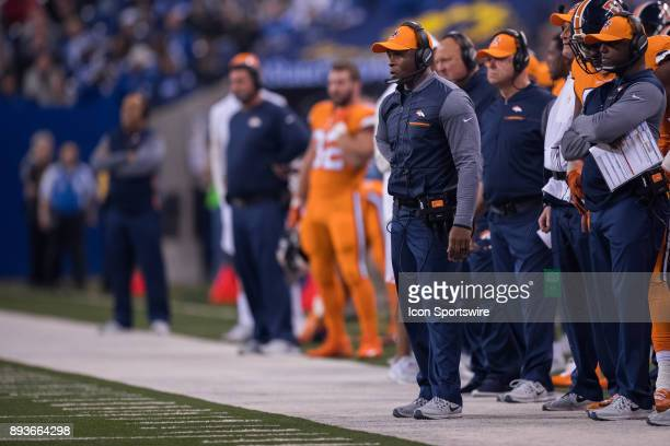 Denver Broncos head coach Vance Joseph on the sidelines during the NFL game between the Denver Broncos and Indianapolis Colts on December 14 at Lucas...