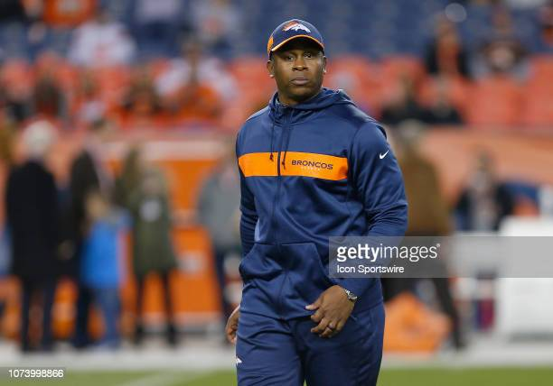 Denver Broncos head coach Vance Joseph prior a game between the Denver Broncos and the visiting Cincinnati Bengals on December 15 2018 at Sports...
