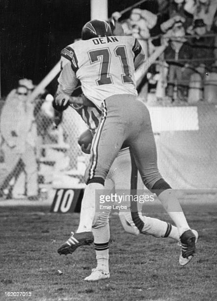 NOV 30 1975 DEC 1 1975 Denver Broncos I believe they call this a 'Sack' San Diego's Fred Dean pounces on Broncos' Steve Ramsey Bronco quarterbacks...