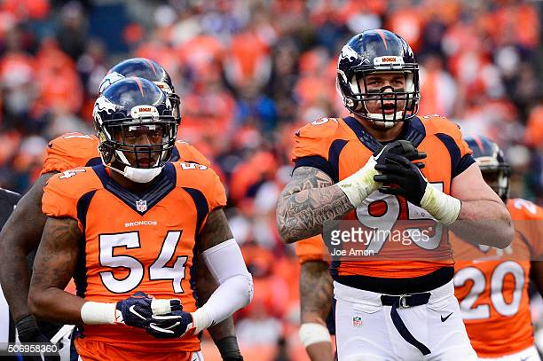 Denver Broncos inside linebacker Brandon Marshall and defensive end Derek Wolfe waiting for the next chance at New England Patriots quarterback Tom...
