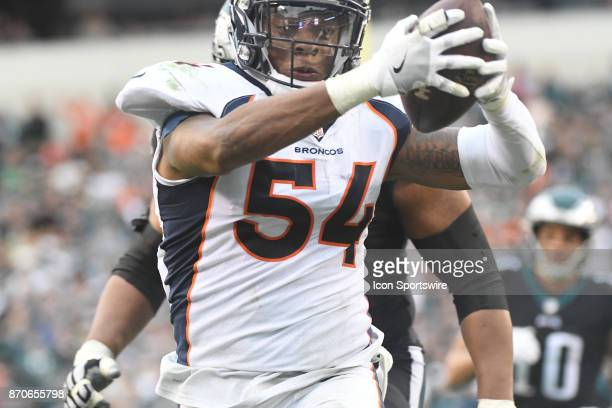 Denver Broncos inside linebacker Brandon Marshall runs back a fumble for a touchdown during a NFL football game between the Denver Broncos and the...