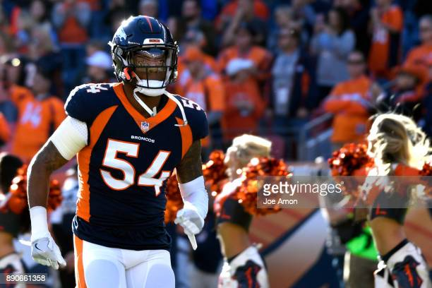 Denver Broncos inside linebacker Brandon Marshall takes the field as the Broncos play the New York Jets at Sports Authority Field at Mile High in...