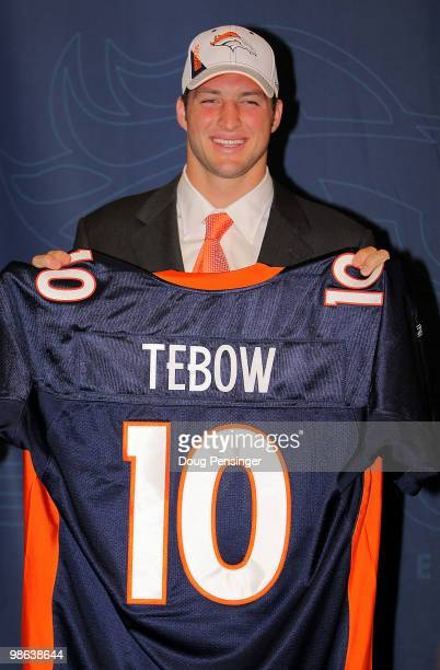 Denver Broncos introduce NFL first round draft pick Tim Tebow during a press conference at the Broncos Headquarters in Dove Valley on April 23 2010...