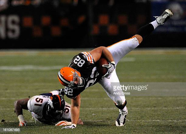 CLEVELAND OHNOVEMBER 4TH2008 Denver Broncos Jamie Winborn upends Steve Heiden Cleveland Browns to end the third quarter of play at The Cleveland...