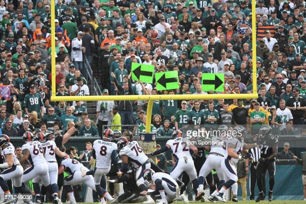 Denver Broncos kicker Brandon McManus kicks an extra point during a NFL football game between the Denver Broncos and the Philadelphia Eagles on...