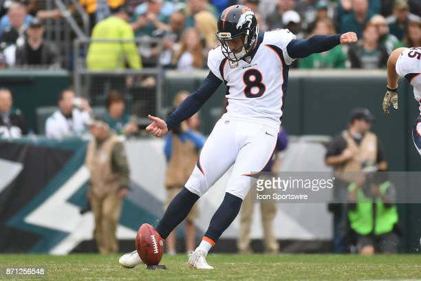 Denver Broncos kicker Brandon McManus kicks off during a NFL football game between the Denver Broncos and the Philadelphia Eagles on November 52017...