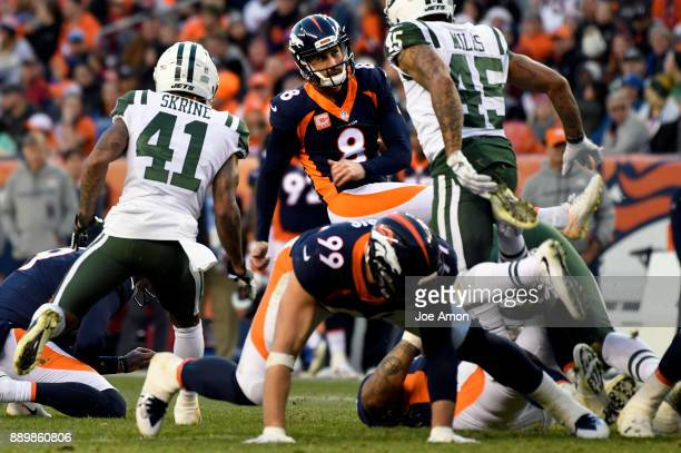 Denver Broncos kicker Brandon McManus makes a field goal in 4th quarter as the Broncos win over the New York Jets 230 at Sports Authority Field at...