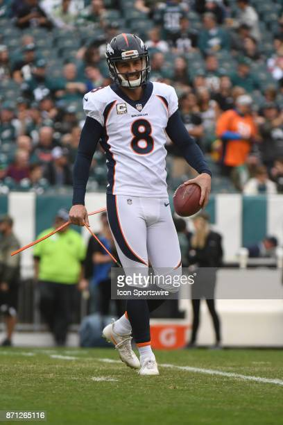 Denver Broncos kicker Brandon McManus warms up during a NFL football game between the Denver Broncos and the Philadelphia Eagles on November 52017 at...
