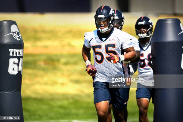 Denver Broncos linebacker Bradley Chubb jogging to the pads on the first day of Broncos OTA's at the UCHealth Training Center in Englewood May 22...