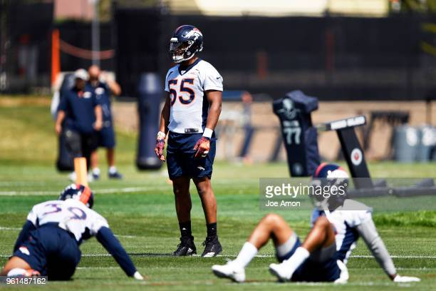 Denver Broncos linebacker Bradley Chubb ready for the morning session of the first day of Broncos OTA's at the UCHealth Training Center in Englewood...