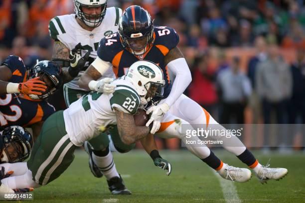 Denver Broncos linebacker Brandon Marshall tackles New York Jets running back Matt Forte during the New York Jets vs Denver Broncos football game at...