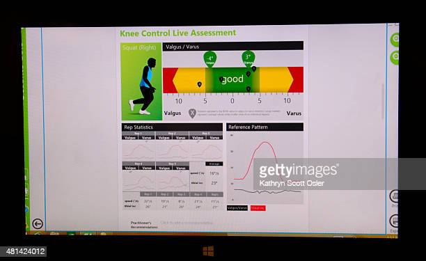 Denver Broncos linebacker Chase Vaughn can see the results from his test on the monitor with sports performance coach Whitney Wright Sports leagues...