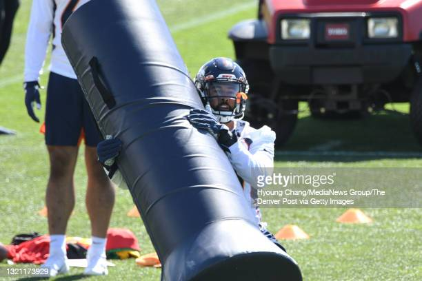 Denver Broncos linebacker Justin Strnad is in the team practice at UCHealth Training Center in Englewood, Colorado on Tuesday, June 1, 2021.