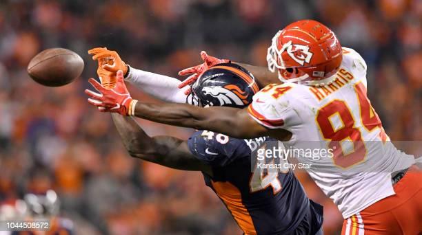 Denver Broncos linebacker Shaquil Barrett broke up a third down pass intended for Kansas City Chiefs tight end Demetrius Harris in the third quarter...