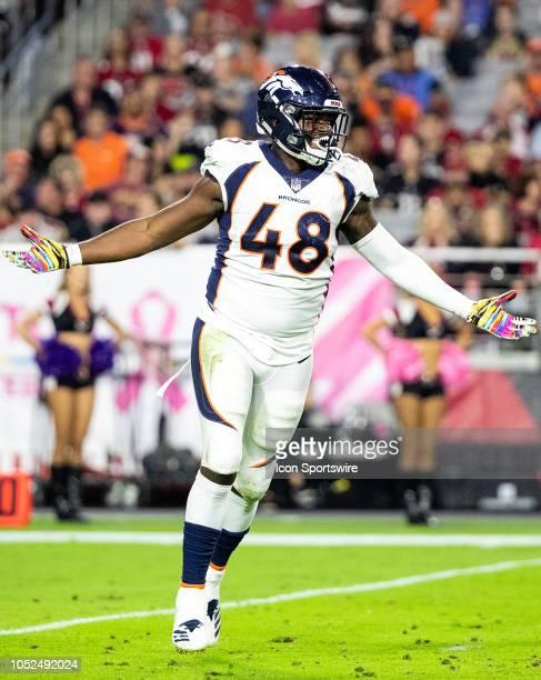 Denver Broncos linebacker Shaquil Barrett celebrates a sack during NFL football game between the Arizona Cardinals and the Denver Broncos on October...