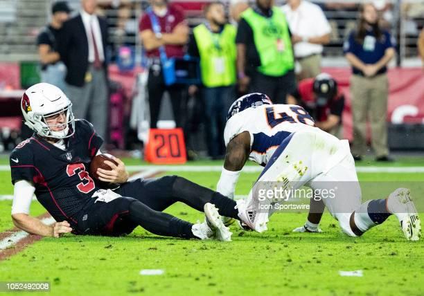 Denver Broncos linebacker Shaquil Barrett sacks the quarterback during NFL football game between the Arizona Cardinals and the Denver Broncos on...