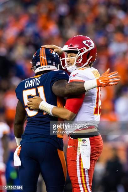 Denver Broncos linebacker Todd Davis and Kansas City Chiefs quarterback Patrick Mahomes during the NFL regular season football game on October 01 at...