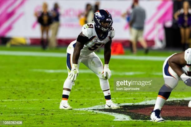 Denver Broncos linebacker Todd Davis during an NFL regular season football game against the Arizona Cardinals at State Farm Stadium on October 18 in...