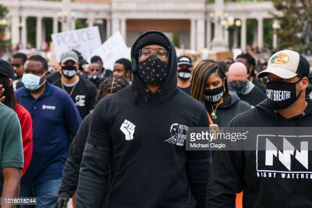 Denver Broncos linebacker Von Miller leads a crowd on a march at a protest on June 6, 2020 in Denver, Colorado. This is the 12th day of protests...
