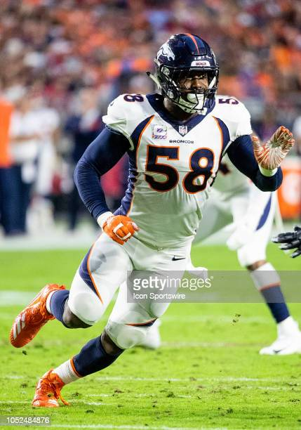 Denver Broncos linebacker Von Miller rushes the passer during NFL football game between the Arizona Cardinals and the Denver Broncos on October 18...
