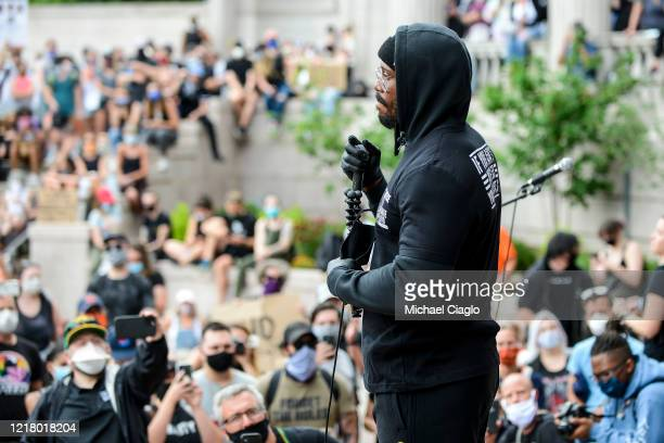 Denver Broncos linebacker Von Miller speaks to a crowd of thousands at a protest for the death of George Floyd on June 6 2020 in Denver Colorado This...