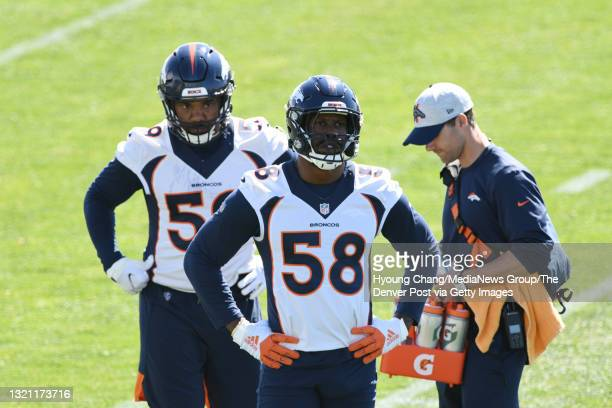 Denver Broncos linebackers Von Miller and Malik Reed are in the team practice at UCHealth Training Center in Englewood, Colorado on Tuesday, June 1,...