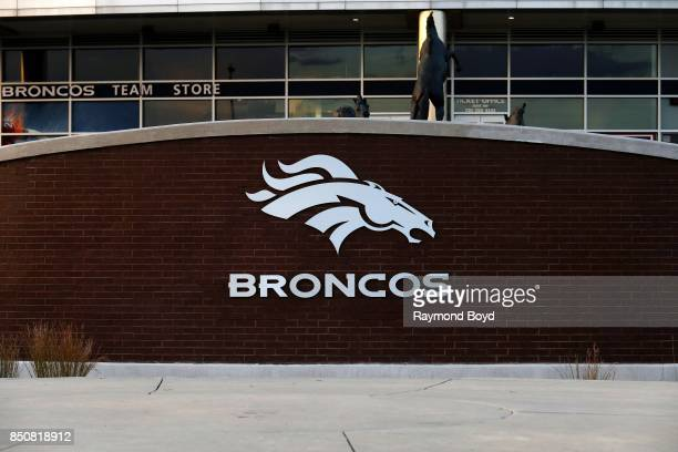 Denver Broncos logo outside Sports Authority Field at Mile High home of the Denver Broncos football team in Denver Colorado on September 12 2017