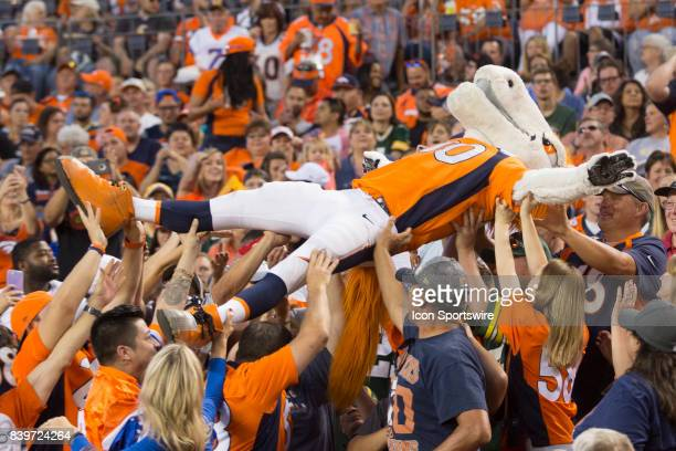Denver Broncos mascot Miles crowd surfs during the Green Bay Packers vs the Denver Broncos game on August 26 2017 at Sports Authority Field in Denver...