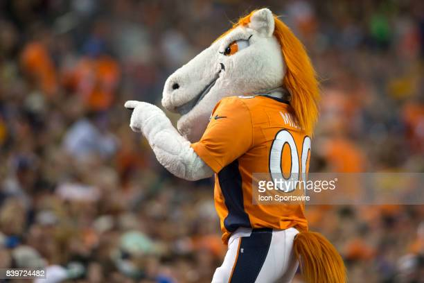 Denver Broncos mascot Miles entertains the crowd during the Green Bay Packers vs the Denver Broncos game on August 26 2017 at Sports Authority Field...