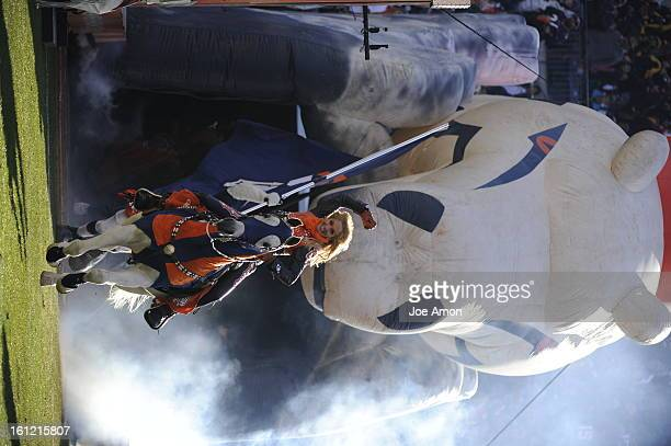 Denver Broncos mascot thinder rides out before the start of the Denver Broncos vs Pittsburgh Steelers AFC Playoff game Sunday January 08 2012 at...