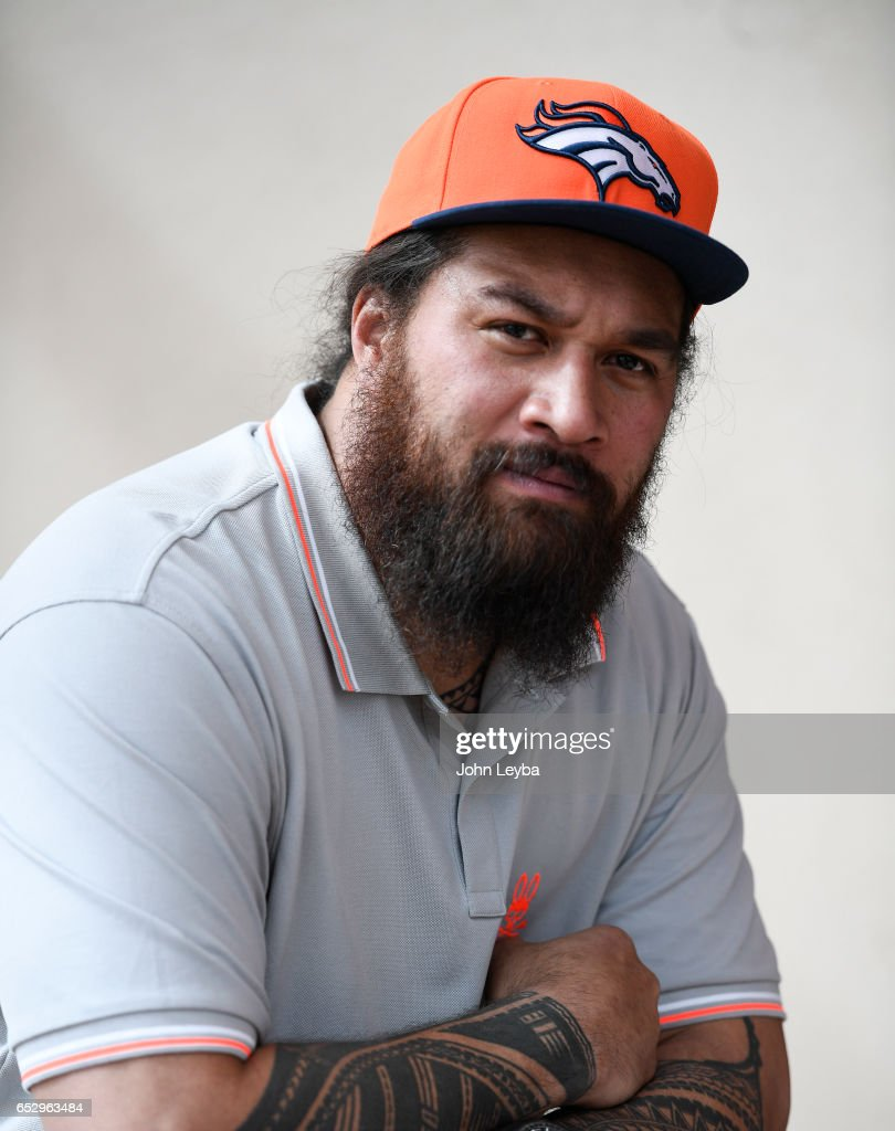 Denver Broncos nose tackle Domata Peko poses for a portrait on March 13, 2017 in Denver, Colorado at Dove Valley. Peko agreed to terms with the club on a two-year contract.