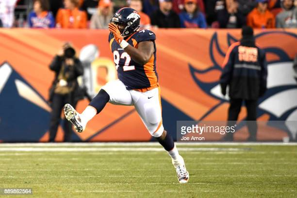 Denver Broncos nose tackle Zach Kerr celebrates stopping the New York Jets on 3rd and 3 to force a punt in the 4th quarter as the Broncos win over...
