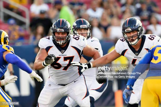 Denver Broncos offensive guard Don Barclay and offensive tackle Jake Rodgers guarding quarterback Kevin Hogan as the Denver Broncos take on the Los...