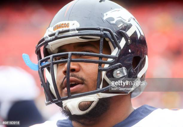 Denver Broncos offensive guard Max Garcia before a NFL game between the Washington Redskins and the Denver Broncos on December 24 at Fedex Field in...