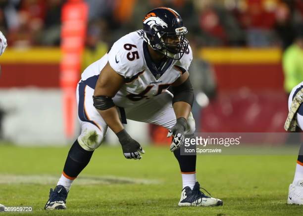 Denver Broncos offensive guard Ronald Leary at the line of scrimmage in the third quarter of an AFC West divisional game between the Denver Broncos...