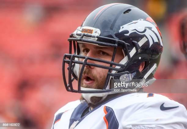 Denver Broncos offensive tackle Allen Barbre before a NFL game between the Washington Redskins and the Denver Broncos on December 24 at Fedex Field...
