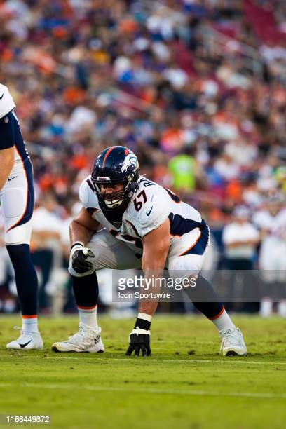Denver Broncos offensive tackle Don Barclay during an NFL preseason football game against the Los Angeles Rams on August 24, 2019 at the Los Angeles...