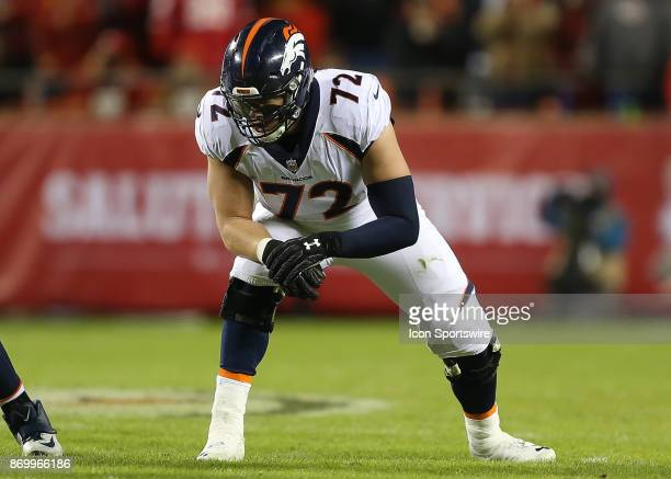 Denver Broncos offensive tackle Garett Bolles before the snap in the second quarter of an AFC West divisional game between the Denver Broncos and...