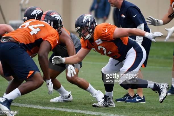 Denver Broncos offensive tackle Garett Bolles right launches off the line against Denver Broncos offensive tackle Justin Murray at Dove Valley July...