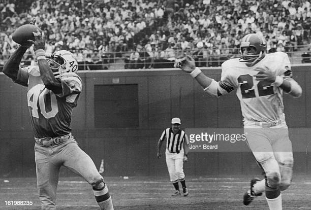 SEP 24 1972 SEP 25 1972 Denver Broncos One of six times unintended receiver plagued broncos Defensive back Joe Beauchamp of San Diego in front of...