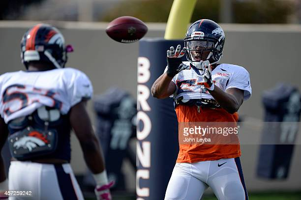 Denver Broncos outside linebacker Brandon Marshall catches a ball in drills during practice October 15 2014 at Dove Valley
