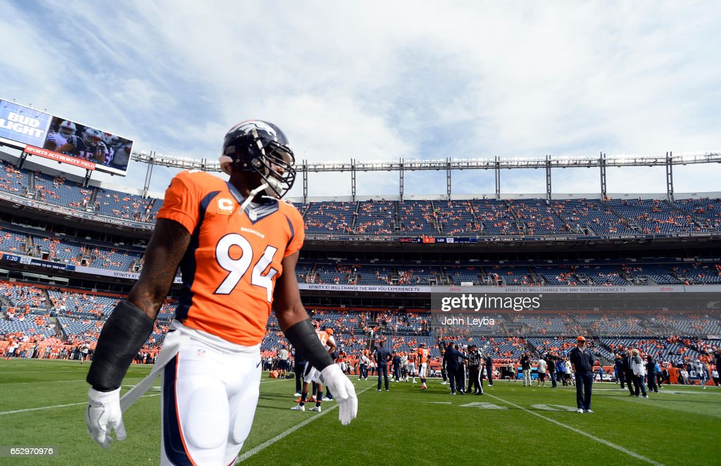 Denver Broncos outside linebacker DeMarcus Ware (94) suited up fro the game against the San Diego Chargers October 30, 2016 at Sports Authority Field at Mile High Stadium.
