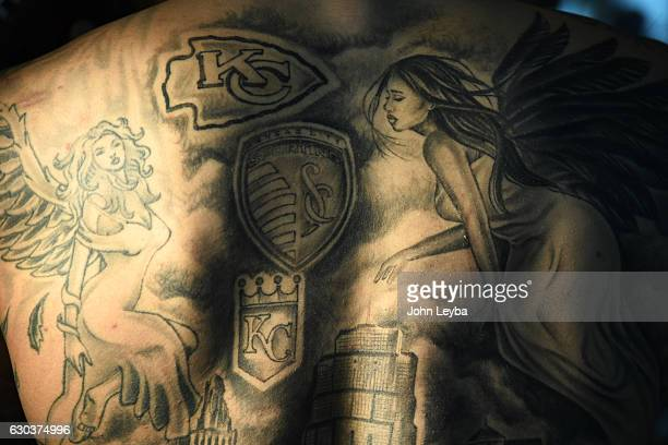 Denver Broncos outside linebacker Shane Ray poses for a portrait after practice Shane shows off his tattoos of his home town Kansas City Shane...